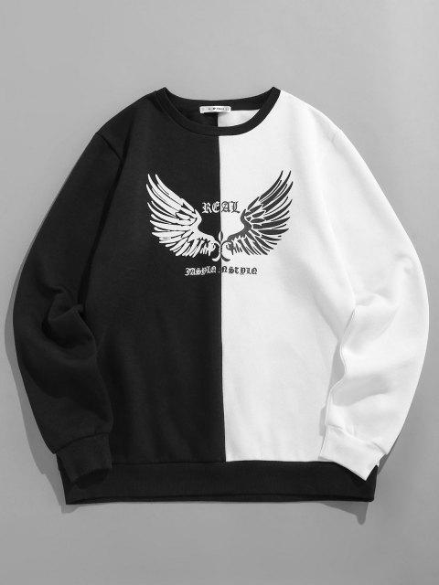 affordable ZAFUL Contrast Wings Print Fleece Sweatshirt - BLACK L Mobile