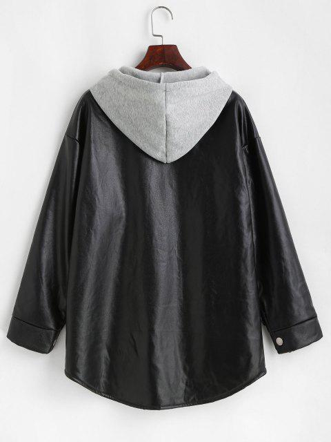 latest Hooded Fluffy Lined Faux Leather Coat - BLACK M Mobile