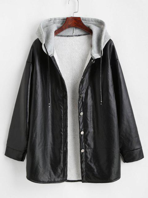 Flauschiger Kunstleder Mantel mit Kapuze - Schwarz S Mobile
