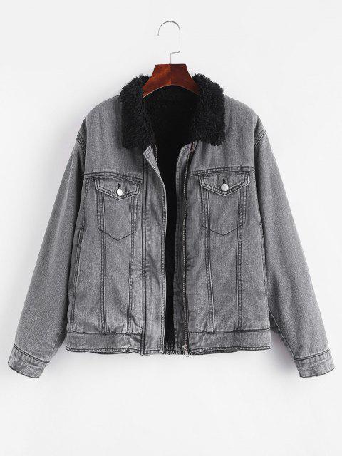 fancy Faux Shearling Lined Pocket Zip Denim Jacket - BLACK M Mobile