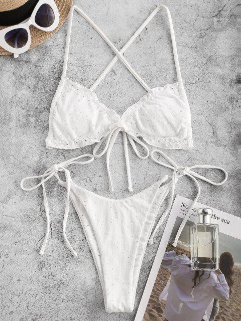 sale ZAFUL Eyelet Flower Jacquard Ruffle Bowknot String Bikini Swimwear - WHITE S Mobile