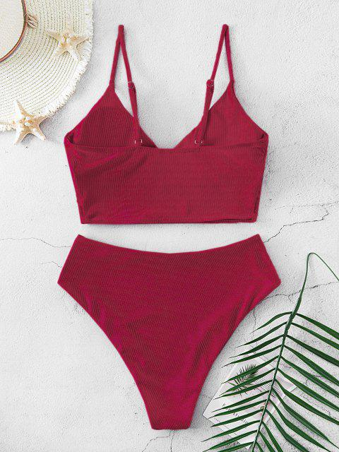 shop ZAFUL Ribbed High Cut Surplice Tankini Swimsuit - DEEP RED S Mobile