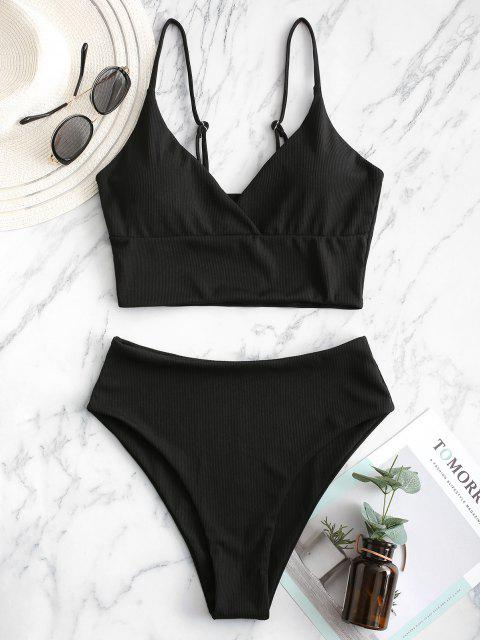 outfit ZAFUL Ribbed High Cut Surplice Tankini Swimsuit - BLACK L Mobile