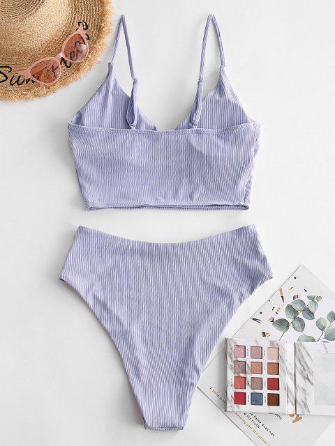ZAFUL Hochgeschnittener Tankini Bademode mit Rippen - Lavendel Blau L Mobile