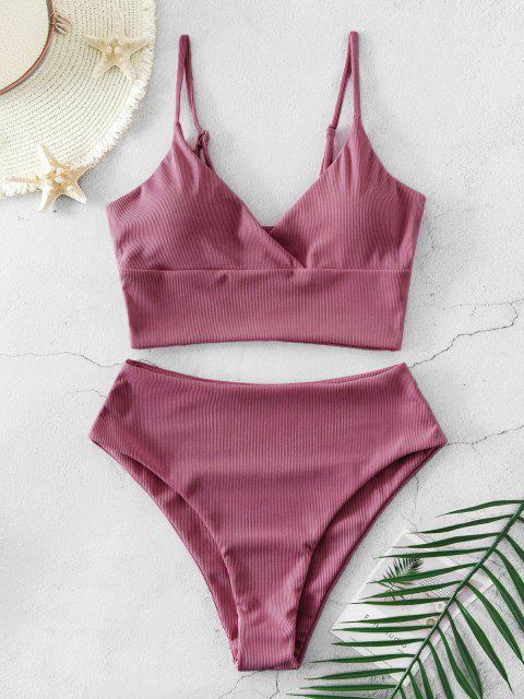 buy ZAFUL Ribbed High Cut Surplice Tankini Swimsuit - PALE VIOLET RED M Mobile