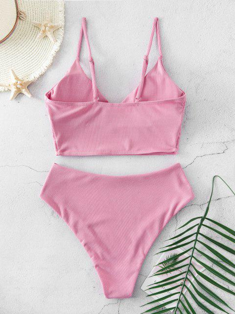 shops ZAFUL Ribbed High Cut Surplice Tankini Swimsuit - FLAMINGO PINK S Mobile