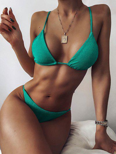 ZAFUL Textured Tie String Bikini Swimwear - Light Green L