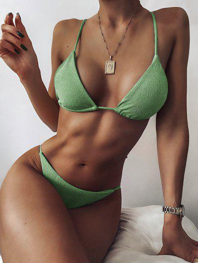ZAFUL Textured Tie String Bikini Swimwear - Green Peas S
