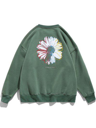 Letter Daisy Print Rib-knit Trim Sweatshirt - Medium Sea Green 2xl