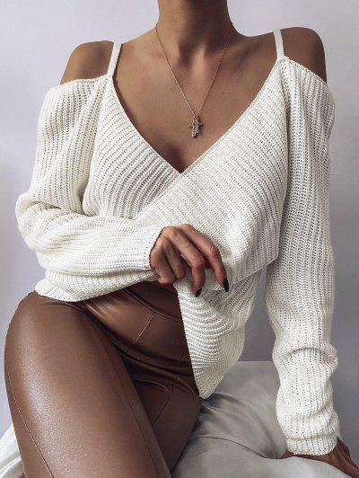 ZAFUL Overlap Cold Shoulder Jumper Sweater - White S