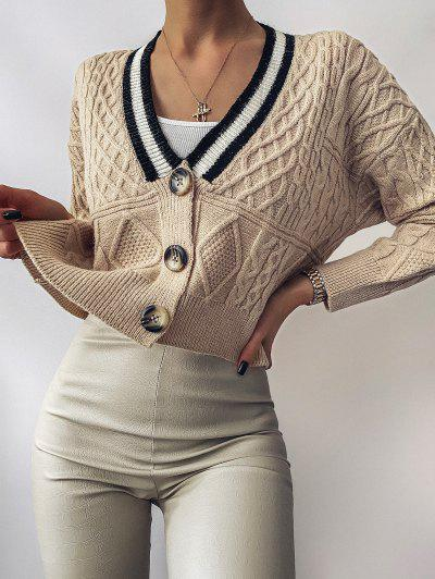 Button Up Preppy Stripes Cable Knit Cardigan - Light Coffee