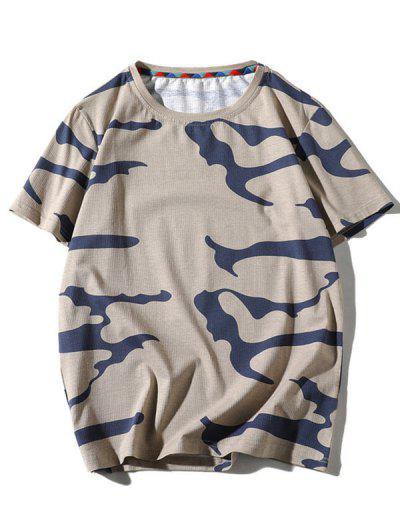 Camo Printed Short Sleeves T-shirt - Tan S