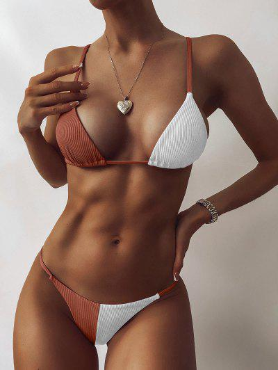 ZAFUL Ribbed Two Tone String Bikini Swimwear - Coffee S