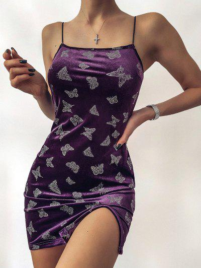 ZAFUL Metallic Butterfly Slit Velvet Cami Dress - Dark Orchid Xl