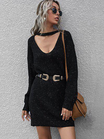 Confetti Drop Shoulder Choker Sweater Dress - Black L