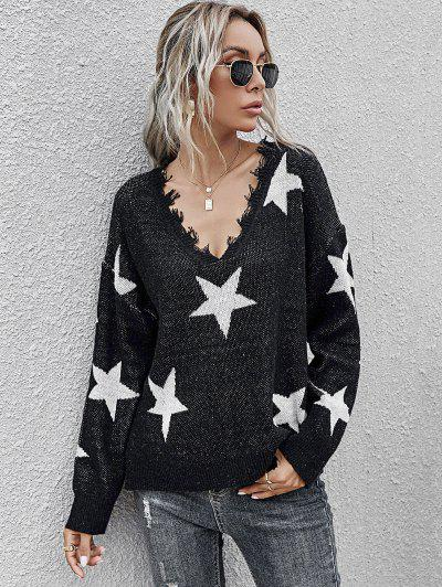 Star Side Slit Distressed V Neck Sweater - Black L