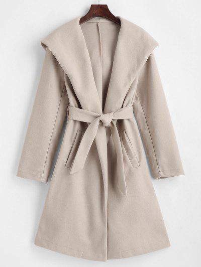 Hooded Belted Pockets Wool Blend Coat - Light Coffee S