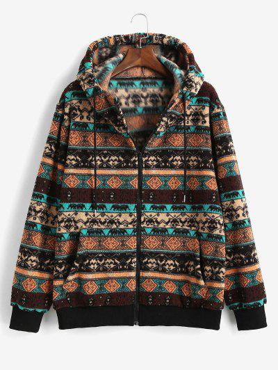 ZAFUL Tribal Pattern Hooded Fleece Jacket - Deep Coffee M