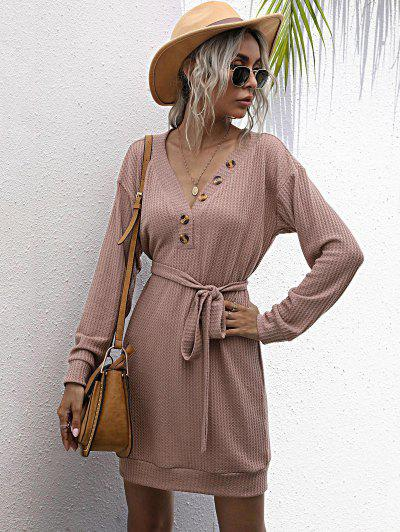 Long Sleeve Button Front Belted Mini Dress - Light Pink S