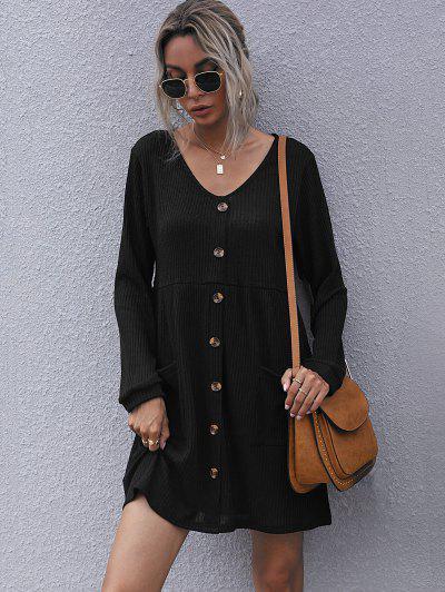 Ribbed Mock Button Pocket Mini Dress - Black M