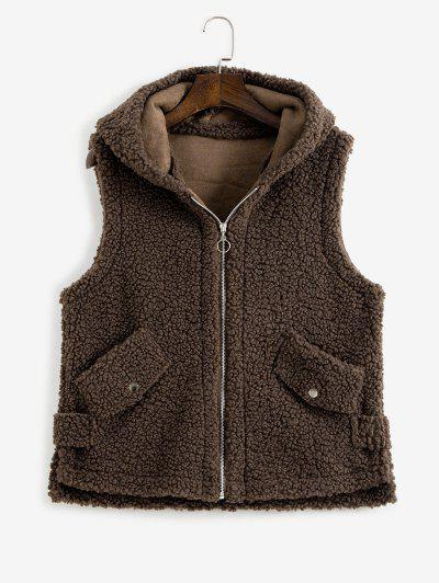 Hooded Pocket Slit Teddy Vest Coat - Deep Coffee