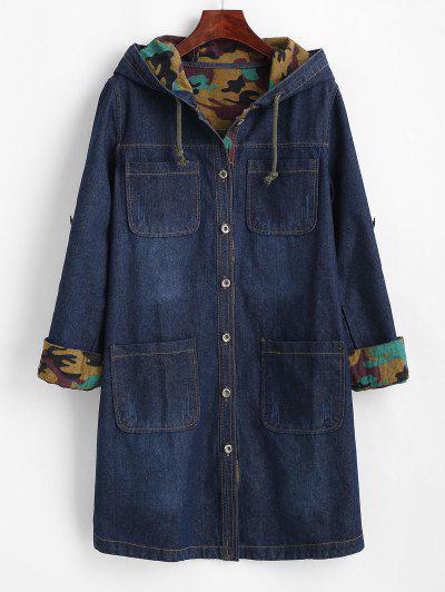 Camouflage Lined Pockets Hooded Denim Coat - Blue L