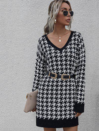 V Neck Houndstooth Jumper Dress - Black S