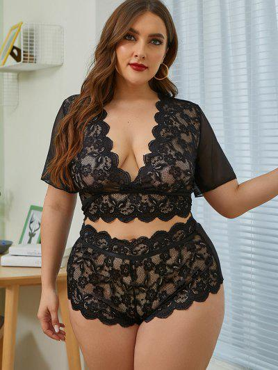 Plus Size Scalloped-trim Lace And Mesh Lingerie Set - Black 3xl