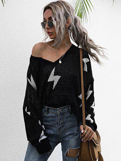 ドロップショルダーライトニングパターン擦り切れ大きいサイズセーター - 黒 S