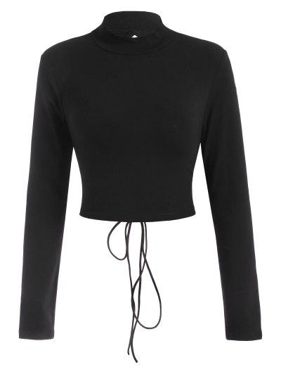 Lace Up Back Mock Neck Baby Tee - Black M
