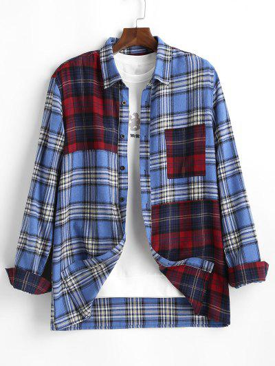 Contrast Plaid Print Button Up Pocket Shirt - Blue Xl