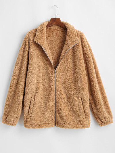 Zip Up Slash Pockets Fluffy Jacket - Coffee 2xl