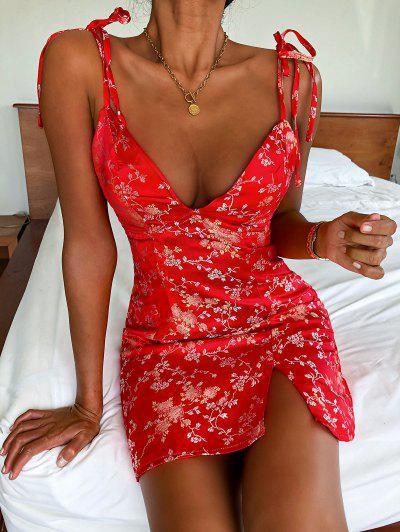 ZAFUL Tie Shoulder Floral Jacquard Slit Oriental Dress - Red M