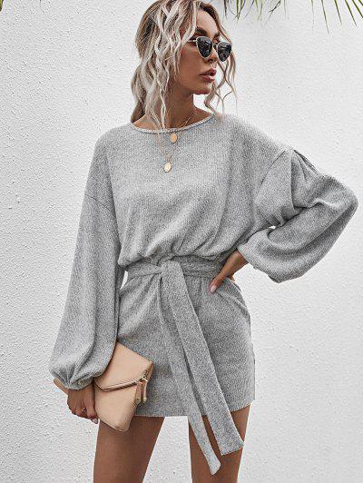 Tie Waist Ribbed Open Back Mini Dress - Light Gray M
