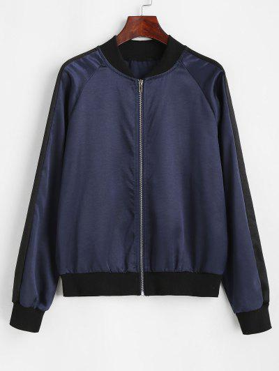 Zip Up Ribbed Trim Silky Bomber Jacket - Deep Blue L