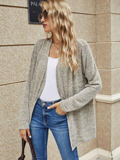 Long Heathered Open Front Cardigan - Light Gray S