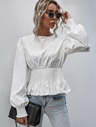 Smocked Peplum Hem Solid Blouse - White S