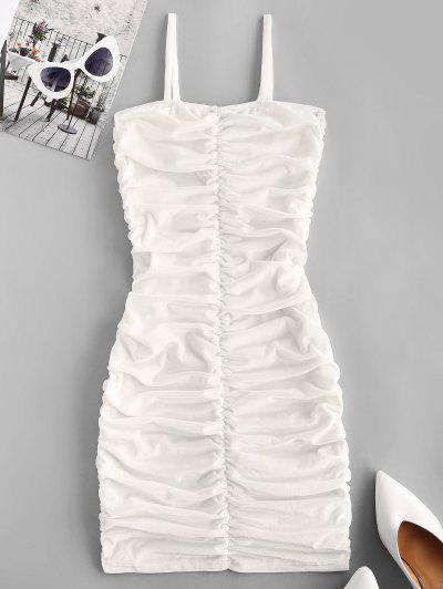 Ruched Velvet Bodycon Going Out Cami Dress - White L
