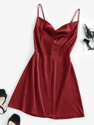ZAFUL Back Tie Satin Cami Dress - Red Wine M