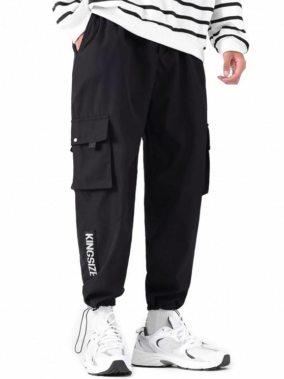 Letter Applique Tapered Toggle Drawstring Cargo Pants - أسود L