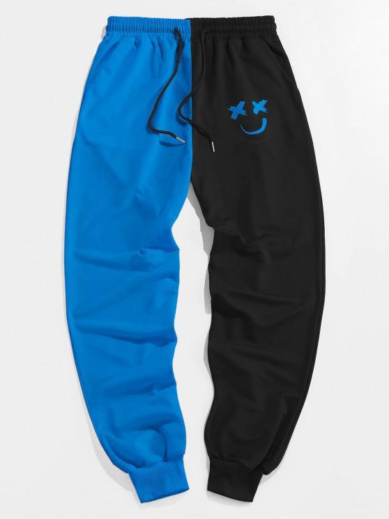 ZAFUL Pantalones Deportivos de Dos Colores con Estampado de Dibujo Animado - Cielo Azul Oscuro XL