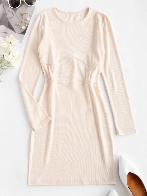 best Rib-knit Corset Detail Long Sleeve Slinky Dress - LIGHT COFFEE S