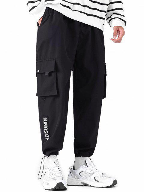 Pantalones de Carga con Cordón de Toallas de Letras - Negro L Mobile