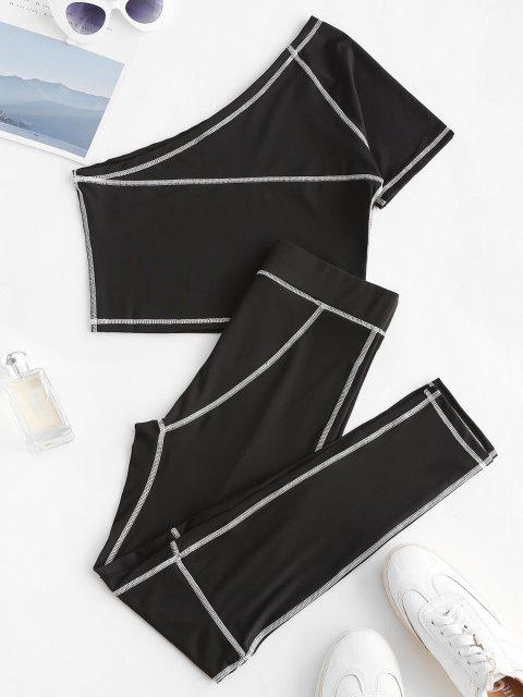 chic One Shoulder Topstitching Top and Leggings Set - BLACK M Mobile