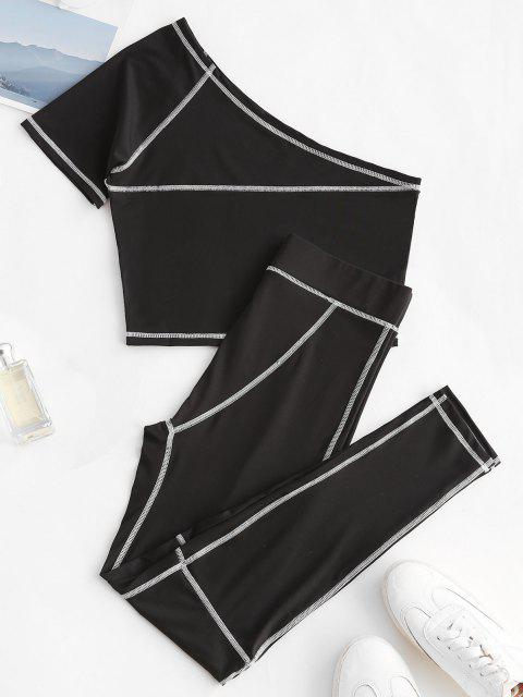 hot One Shoulder Topstitching Top and Leggings Set - BLACK S Mobile
