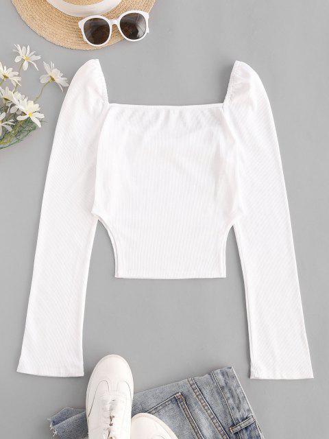 Costela de Fila de Botão Única de Gola Dobradiça - Branco M Mobile