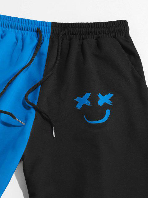 ZAFUL Pantalones Deportivos de Dos Colores con Estampado de Dibujo Animado - Cielo Azul Oscuro M Mobile