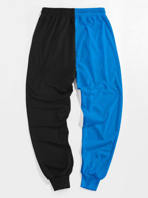 ZAFUL Pantalones Deportivos de Dos Colores con Estampado de Dibujo Animado - Cielo Azul Oscuro L Mobile