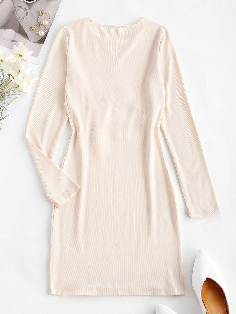 sale Rib-knit Corset Detail Long Sleeve Slinky Dress - LIGHT COFFEE M Mobile