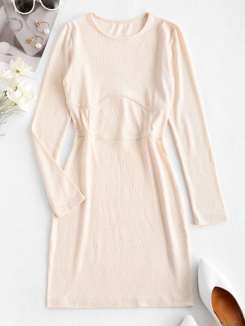 outfits Rib-knit Corset Detail Long Sleeve Slinky Dress - LIGHT COFFEE L Mobile